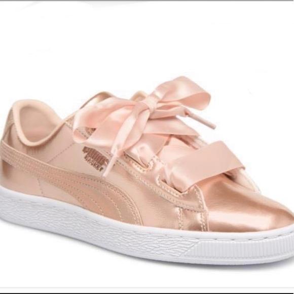 Puma Shoes Puma Rose Gold Ribbon Sneakers Poshmark